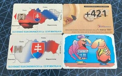 SLOVAKIA Phonecards - 4 x 10/50/75/100 Maps Flags and Phone Zones