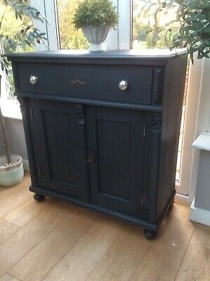 Antique Victorian Pine French Cupboard Black Painted