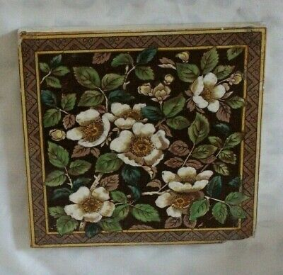 ENGLISH multi flower antique PERIOD TILE very colourful