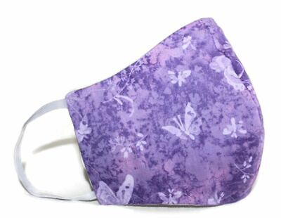 Adult Face Mask Purple Butterflies Handmade USA Flexible Nose Wire Washable
