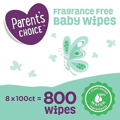 Parent's Choice Fragrance Free Baby Wipes 8 FlipTop Packs 800 Count Diaper Wipes