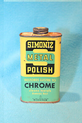 Vintage Simoniz Metal Polish Tin - Used - 1/2 Full