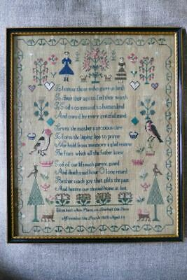Antique Victorian Needlework / Cross-Stich / Embroidered Sampler from 1865