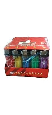 50 Disposable Lighters Adjustable Flame Child Safety New In Retail Packaging