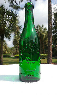 """1890'S Western Glass Antique Blob Top Green """"Owl Drug Company"""" Magnesia Bottle!!"""