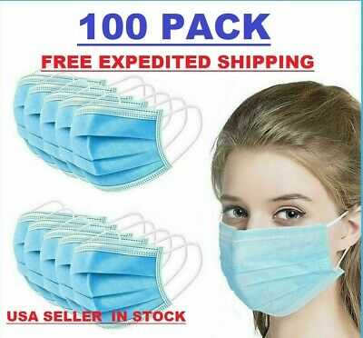 100 PCS Face Mask Surgical Dental Disposable 3-Ply Ear-loop Mouth Cover NEW