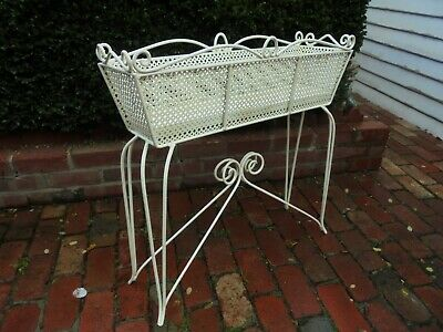 LARGE VINTAGE WROUGHT IRON PLANT STAND WITH ORIGINAL DRIP TRAY c1950