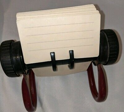 Vintage Maroon Rolodex with 225+ blank cards