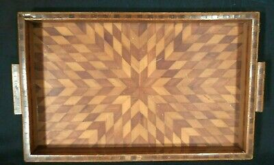 VINTAGE EARLY 20th CENTURY HAND MADE MARQUETRY INLAID SERVING TRAY