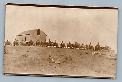 Farm Scene Horse Drawn Carts Ready For Harvest Antique Real Photo Postcard Rppc