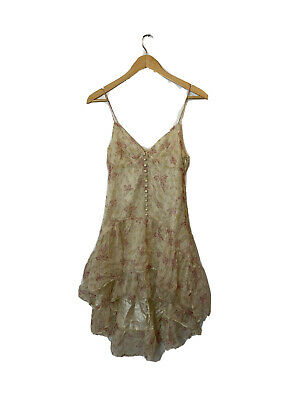 NWOT Free People Urban Anthropologie Thistlepearl Nude Floral Silk Dress Sz 2 F1