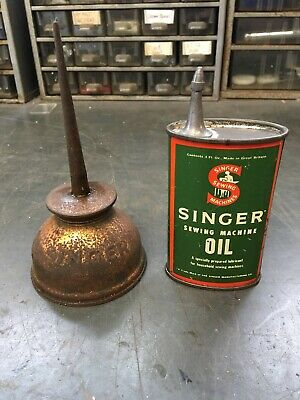 Vintage Singer Sewing Machine Oil Can & Copper Thumb Oiler
