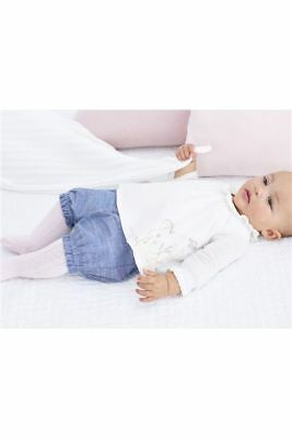 Next Baby Girls Cream Floral Embroidered Blouse Denim Shorts & Pink Tight