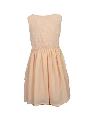 Girls Pink Peach Party Dress + Belt Matalan Pearl Embellished Beads 4 Years