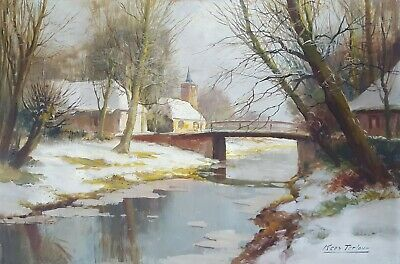 Winter Landscape Vintage Oil Painting Original by a Dutch Artist Kees Terlouw