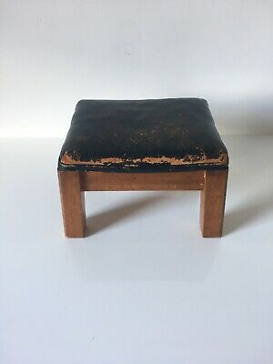 Vintage Wooden and Black Leather Foot Stool - Child Seat
