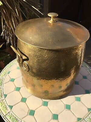 Vintage Solid Brass Coal Scuttle & Log Bin.