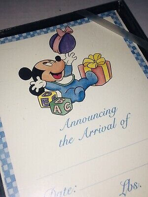Disney Mickey Mouse Vintage Baby Boy Birth Announcements Set of 10 Arrival NEW