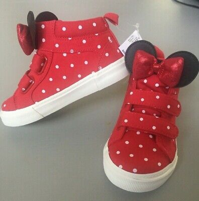 Baby Gap Disney Little Girls Red Polka Dot Minnie High Top Sneakers Shoes Size 8