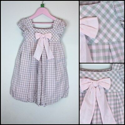 Gorgeous Spanish Designer Mayoral Girls Pink Bow Check Dress Party Occasion 6 Y