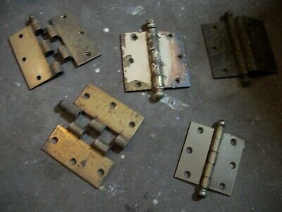 "Lot of 5 Vintage Brass Cannonball Hinges 3-1/2"" x 3-1/2"" and 3"" x 3"" NATIONAL"