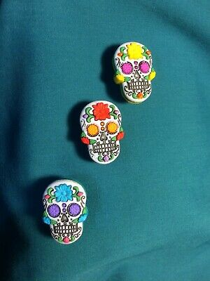 Cute SUGAR SKULLS Day of the Dead Skull Croc Hole Accessories Shoe Charms