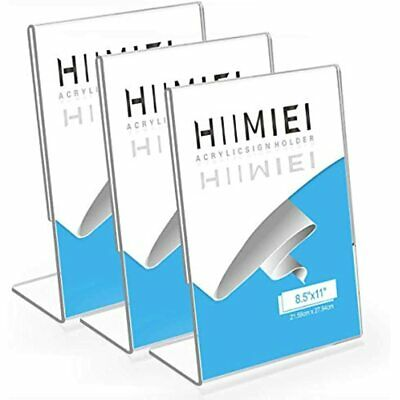 3 Pack 8.5x11 Slanted Back Acrylic Sign Holders, Clear Tabletop Plastic Menu