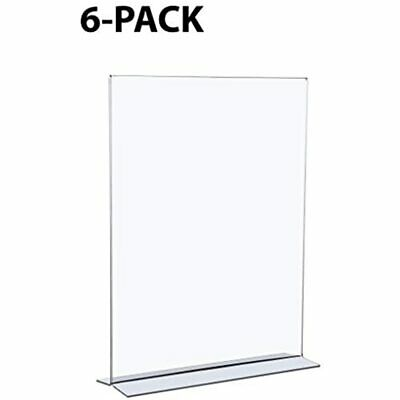 6-Pack Acrylic Sign Holders, 8.5 X 11 Inches, T-Shaped Frame, Double Sided, Top