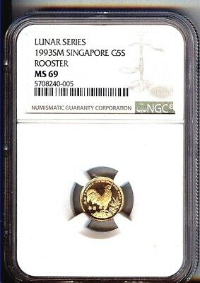 1993 Sm Singapore $5 Gold Year Of The Rooster 1/20 Ounce Gem Ngc Ms70 - Pop 3