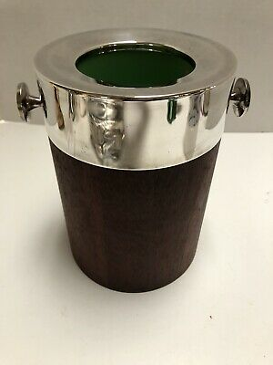 Vintage Towle 4142 Mid Century Modern Teak and Silver Plate Wine Cooler