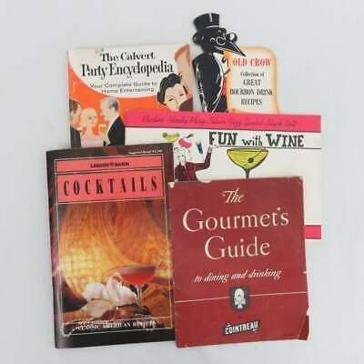 Vintage Lot of 5 Cocktail and Wine Recipe Booklets - Bar Party and Drink Cookboo