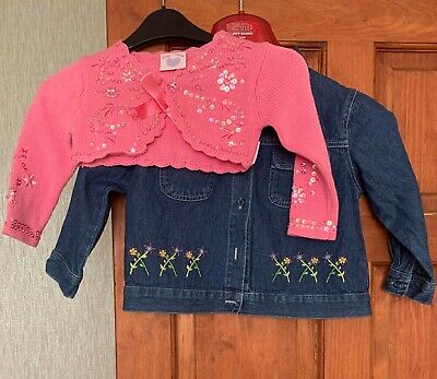 Girls Denim jacket and Pink Slip on Sweater Age 2-3-4 yo - Excellent Condition