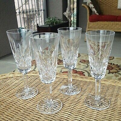 "4 Lot Waterford Crystal Lismore Champagne Flutes Glasses 7 1/4"" Mint"