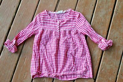 Juniors Girls LOGG long sleeve Babydoll plaid pink & white top 11 12 CUTE !