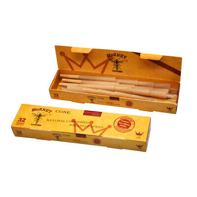 HORNET DANGER 32 X 1 1/4 Pre-Rolled Natural Smoking Classic Rolling Paper Cones