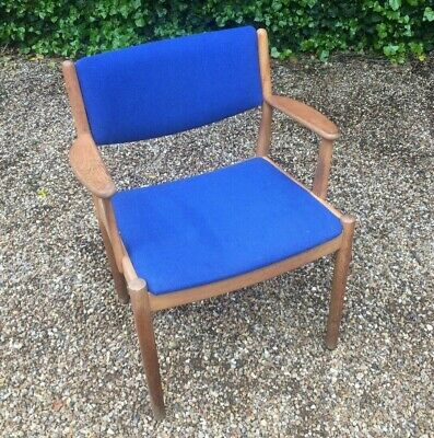 Vintage Mid Century Fdb Mobler Danish Blue Elbow Chair