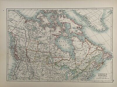 1897 Dominion Of Canada Large Original Antique Map A & C Black 123 Years Old