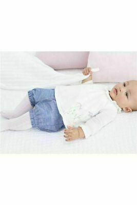 Next Baby Girls Cream Floral Embroidered Blouse Denim Shorts & Pink Tights