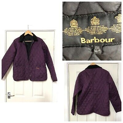 Barbour Girls Light Quilted Jacket Purple Size XXL 14-15 Years Spring (C387)