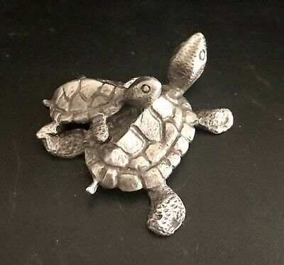 Pewter Mama Baby Sea Turtle Tortoise Shell Silver Metal Statue Figurine D