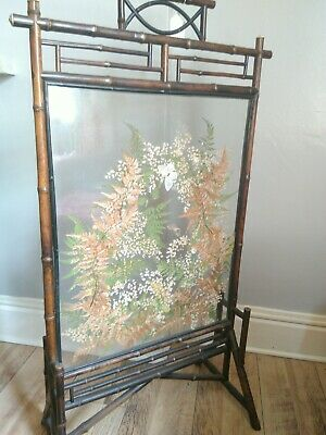 Wonderful Aesthetic movement screen with pressed flora and fauna between glass.