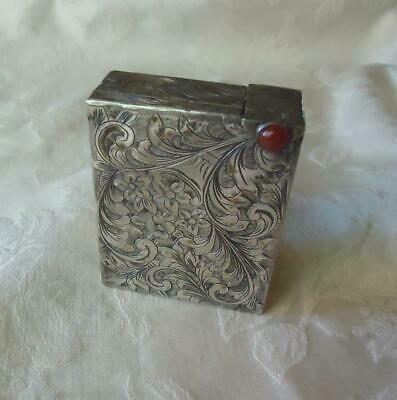 Vintage Sterling Silver Engraved Lipstick Compact Combo