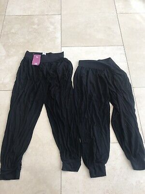 Girls Black Harem Style Jogging Bottoms X 2 6-7 Yrs