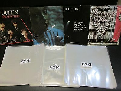 """100 pcs. 12"""" Plastic Vinyl Record SLEEVES COVERS LP Outer ♫ Best BIGGEST SIZE"""