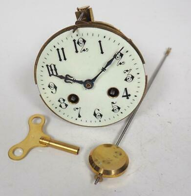 Good Spare Clock Movement French 8 Day Mantel Clock Movement + Key & Pendulum 28