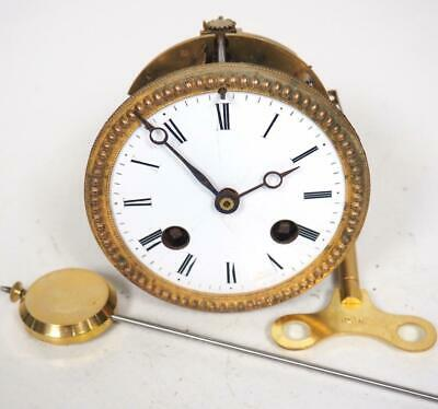 Good Spare Clock Movement French 8 Day Mantel Clock Movement + Key & Pendulum 25