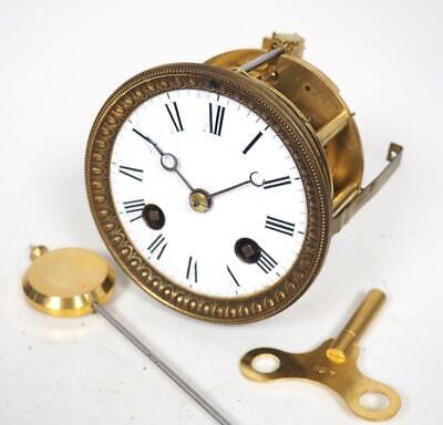 Good Spare Clock Movement French 8 Day Mantel Clock Movement + Key & Pendulum 24