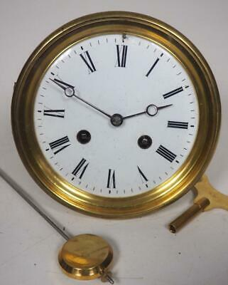 Good Spare Clock Movement French 8 Day Mantel Clock Movement + Key & Pendulum 20