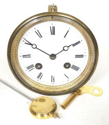 Good Spare Clock Movement French 8 Day Mantel Clock Movement + Key & Pendulum 19