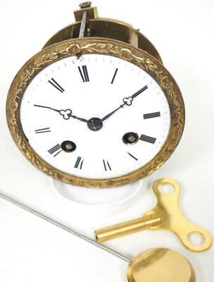 Good Spare Clock Movement French 8 Day Mantel Clock Movement + Key & Pendulum 14